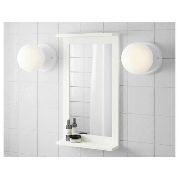 SILVERÅN mirror with shelf white 36 cm 63.8 cm