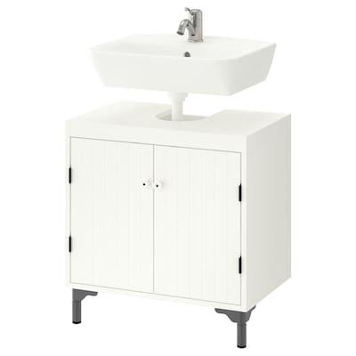 SILVERÅN / TYNGEN Wash-basin base cabinet w 2 doors, white/Lillsvan tap, 60x40x76 cm