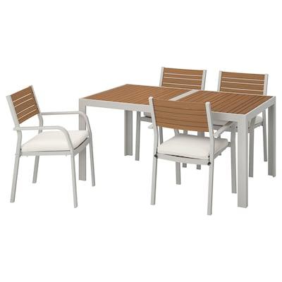 SJÄLLAND Table+4 chairs w armrests, outdoor, light brown/Frösön/Duvholmen beige, 156x90 cm