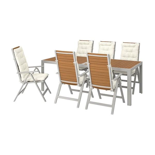 SJÄLLAND Table+6 reclining chairs, outdoor, light brown/Kuddarna beige, 220x90 cm