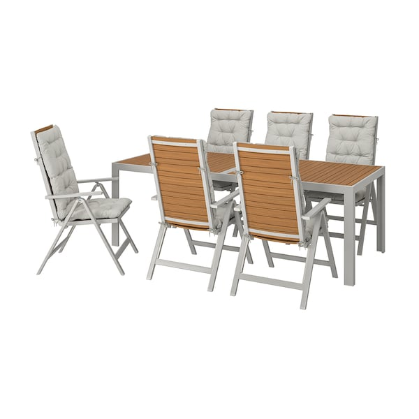 SJÄLLAND Table+6 reclining chairs, outdoor, light brown/Kuddarna grey, 220x90 cm