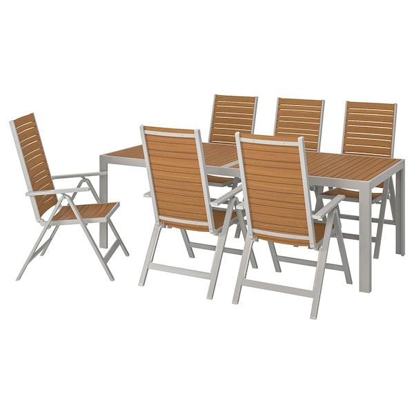 SJÄLLAND Table+6 reclining chairs, outdoor, light brown/light grey, 220x90 cm