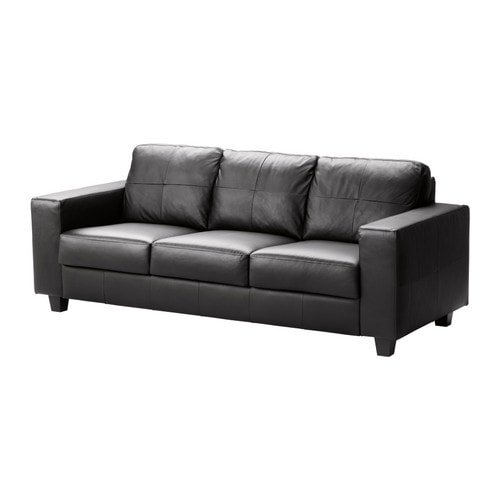 SKOGABY Three-seat sofa   Seat surfaces and armrests in soft, hardwearing, easy care grain leather.