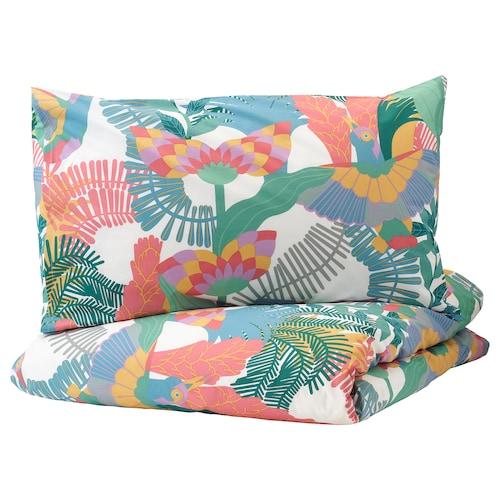 SKOGSFIBBLA quilt cover and 2 pillowcases white/multicolour 152 /inch² 2 pieces 220 cm 240 cm 50 cm 80 cm