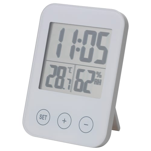 SLÅTTIS clock with hygro-/thermometer white 8 cm 2 cm 12 cm