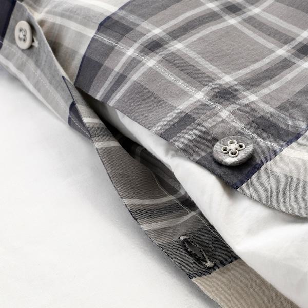 SMALRUTA Duvet cover and 2 pillowcases, grey/check, 150x200/50x80 cm