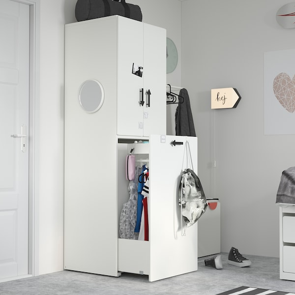 SMÅSTAD Wardrobe with pull-out unit, white pale pink/with clothing rod, 60x57x196 cm