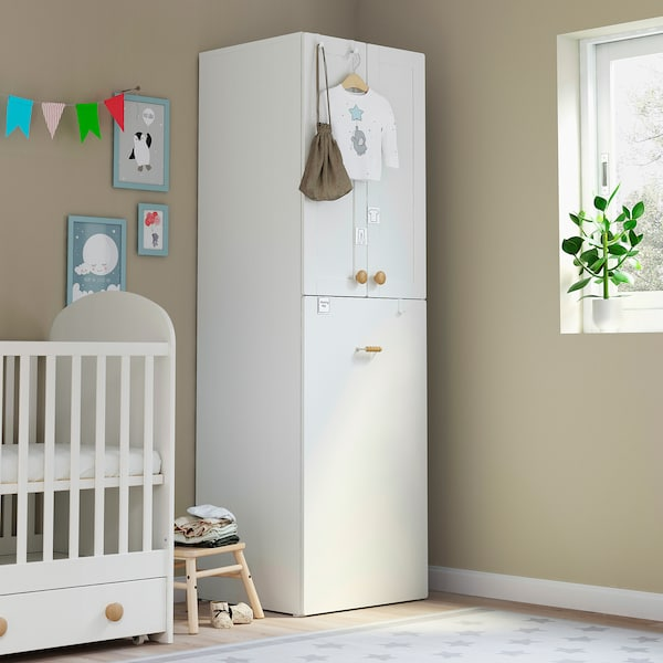 SMÅSTAD Wardrobe with pull-out unit, white with frame/with clothing rod, 60x57x196 cm