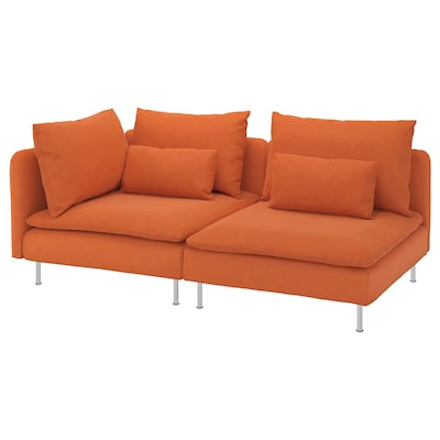 SÖDERHAMN 3-seat sofa, with open end/Samsta orange