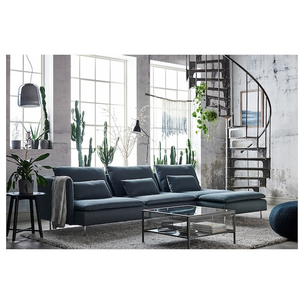 SÖDERHAMN 4-seat sofa, with chaise longue and open end/Finnsta turquoise