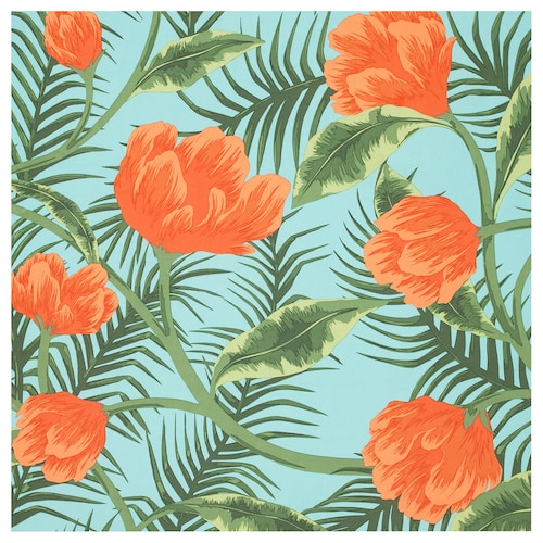 SOMMAR 2020 fabric turquoise orange/flowers and leaves 150 cm