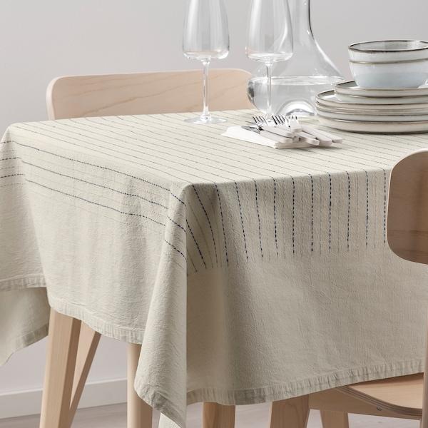 SOMMARDRÖM Tablecloth, beige/blue, 145x240 cm
