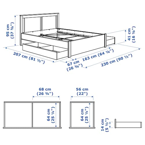 SONGESAND Bed frame with 2 storage boxes, white/Luröy, 150x200 cm