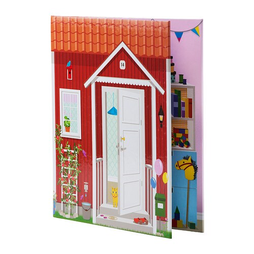 SPEXA Doll's house   Dollhouse in the form of a book, with 4 different room settings.  Easy to fold and store away.