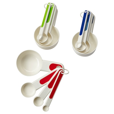 STÄM Set of 4 measuring cups, red/green/blue