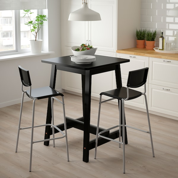 STIG Bar stool with backrest, black/silver-colour, 74 cm