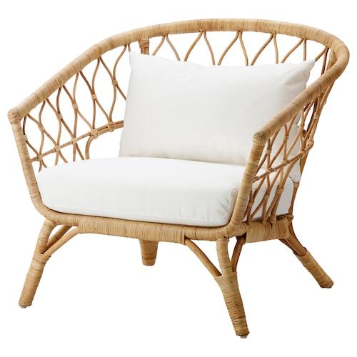 STOCKHOLM 2017 Armchair with cushion, rattan/Röstånga white