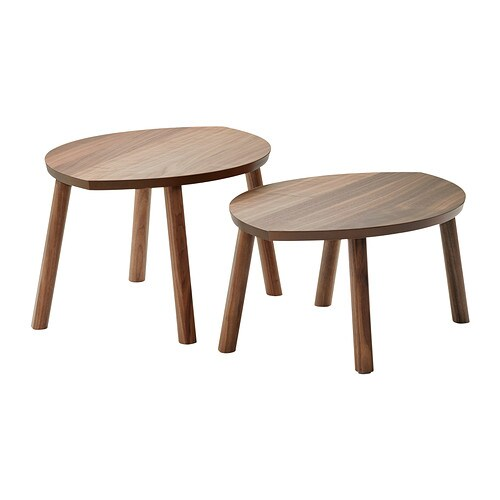 STOCKHOLM Nest of tables, set of 2   The table surface in walnut veneer and legs in solid walnut give a warm, natural feeling to your room.