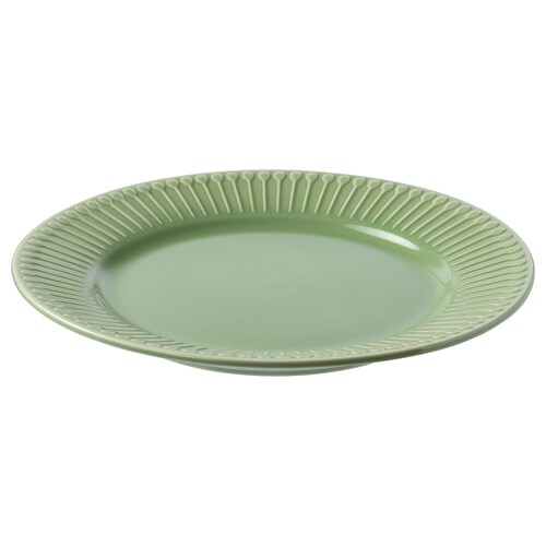 STRIMMIG side plate stoneware/green 21 cm