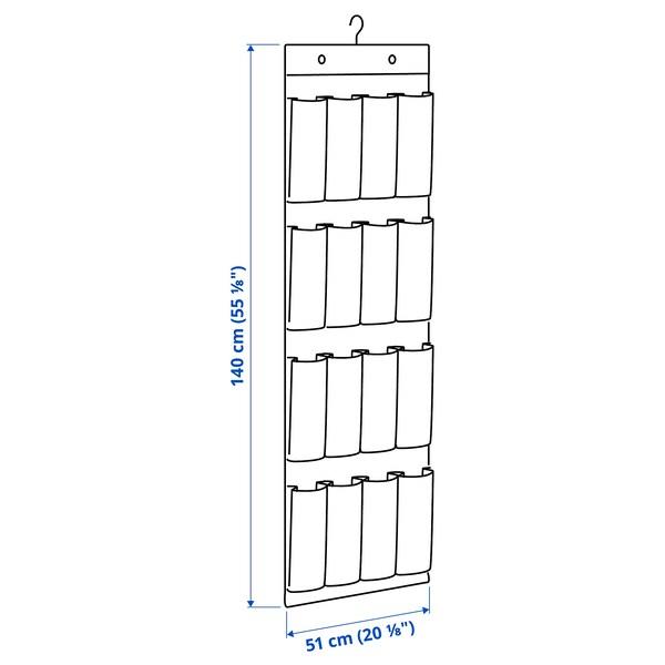 STUK hanging shoe organiser w 16 pockets white/grey 51 cm 140 cm 115 cm