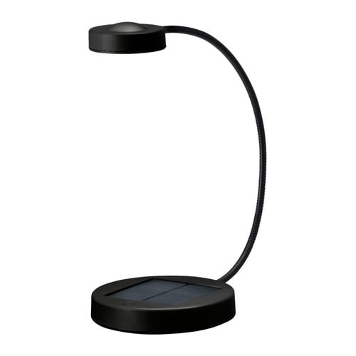 SUNNAN LED table lamp   No costs for electricity; the solar panel converts sunlight to energy.  Easy to use; no cables or plugs are needed.