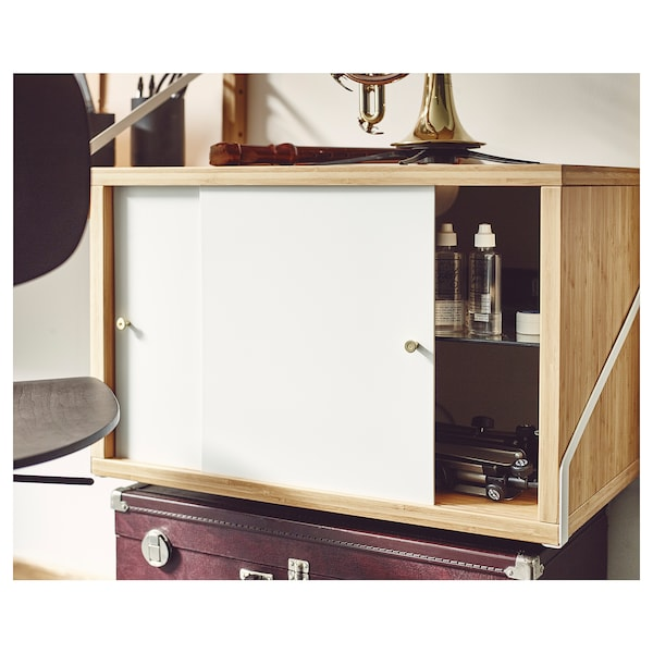 SVALNÄS cabinet with 2 doors bamboo/white 61 cm 35 cm 5 kg