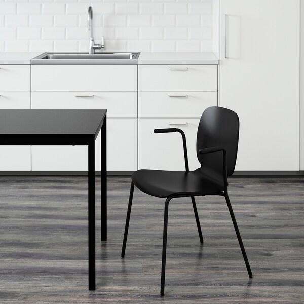 SVENBERTIL Chair with armrests, black/Dietmar black