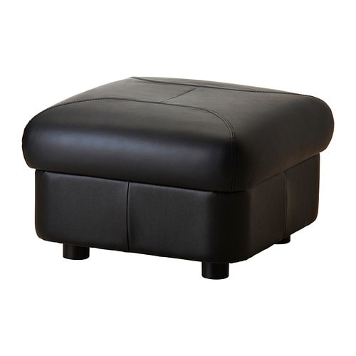 TIMSFORS Footstool   Contact areas with soft, dyed-through 1.  2 mm thick grain leather that is supple and smooth to the touch.