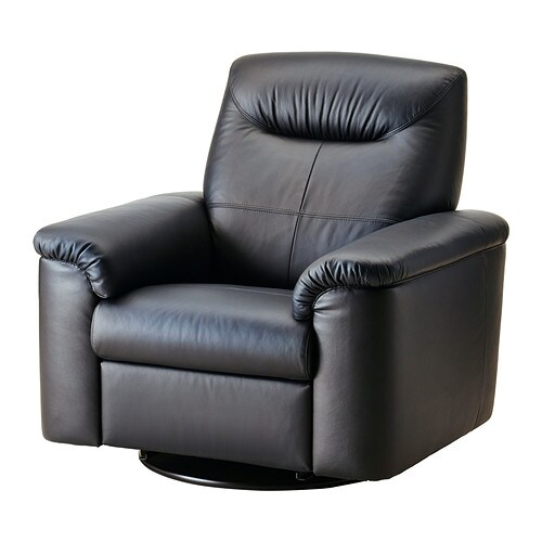 TIMSFORS Swivel recliner   Contact areas with soft, dyed-through 1.  2 mm thick grain leather that is supple and smooth to the touch.