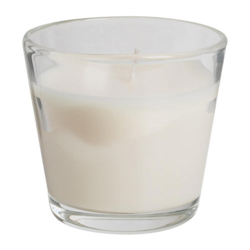 TINDRA Scented candle in glass   When the candle has burnt itself out the glass cup can be used as a tealight holder.