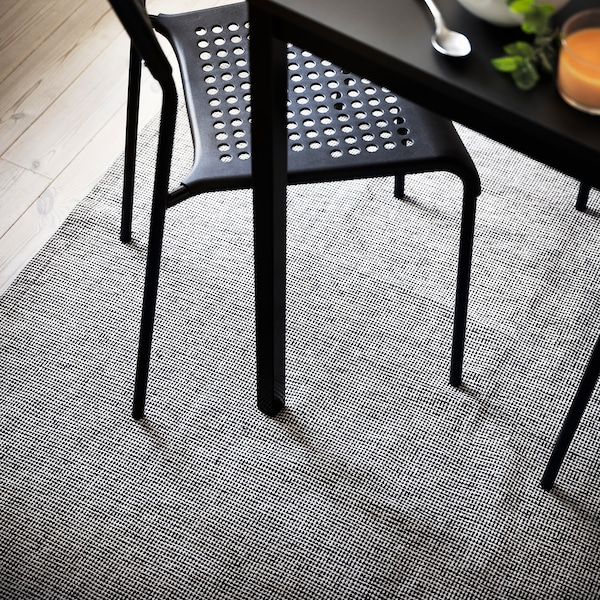 TIPHEDE Rug, flatwoven, grey/white, 155x220 cm