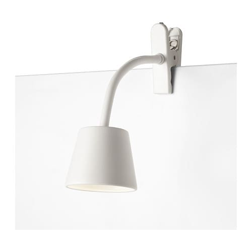 TISDAG LED clamp spotlight   Slim and lightweight: easy to place in small spaces and move to wherever you need light.
