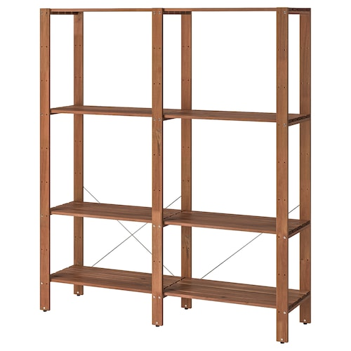 TORDH shelving unit, outdoor brown stained 140.0 cm 35.0 cm 161 cm