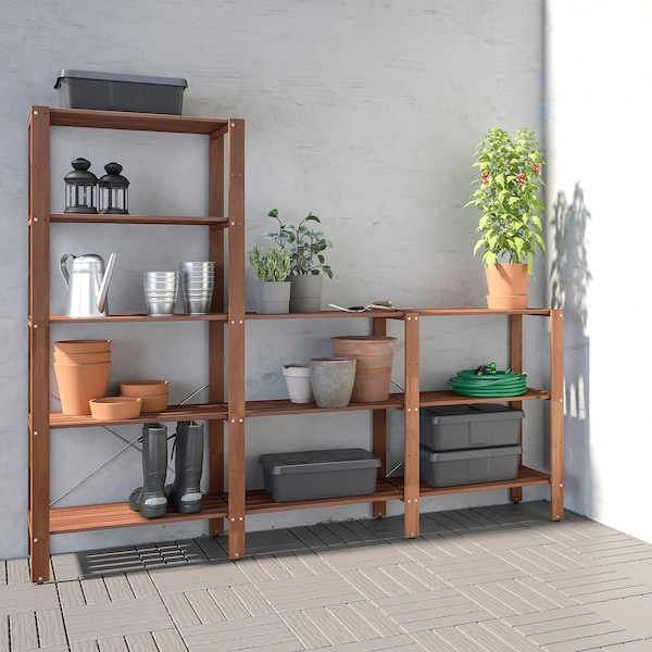TORDH shelving unit, outdoor brown stained 140 cm 35 cm 90 cm 161 cm