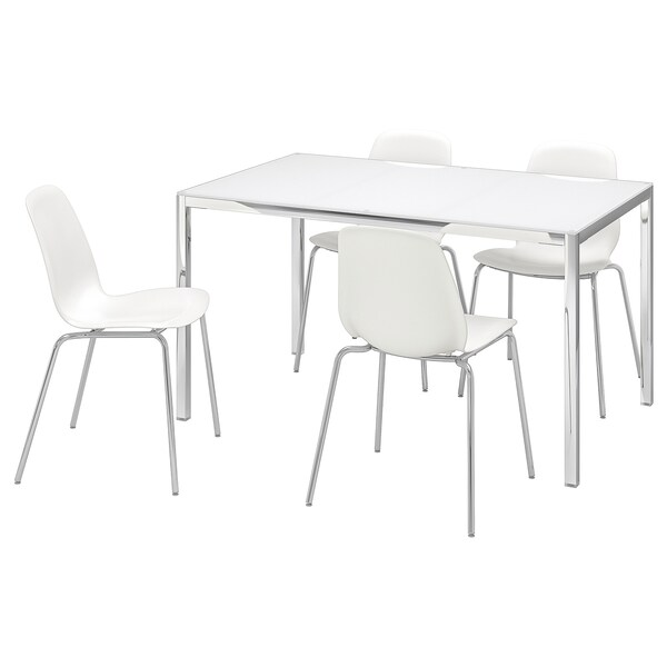 Tavolo In Vetro Ikea.Torsby Leifarne Table And 4 Chairs Glass White White Ikea