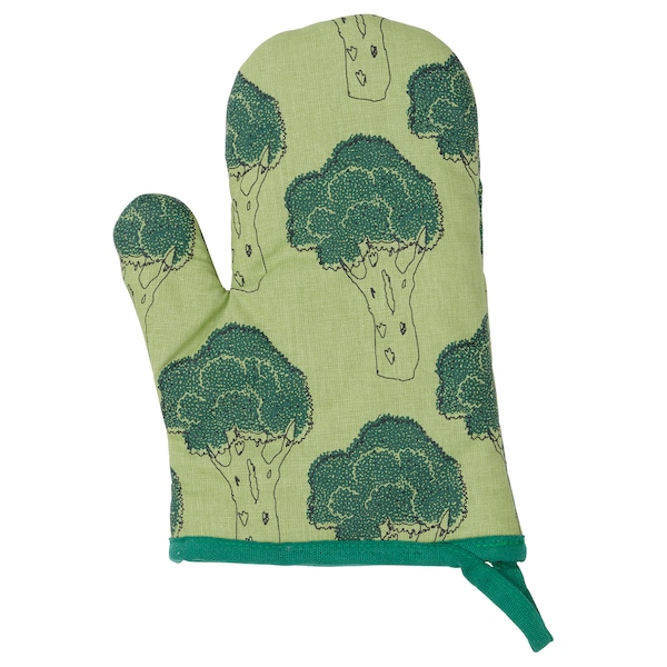 TORVFLY Oven glove, patterned/green