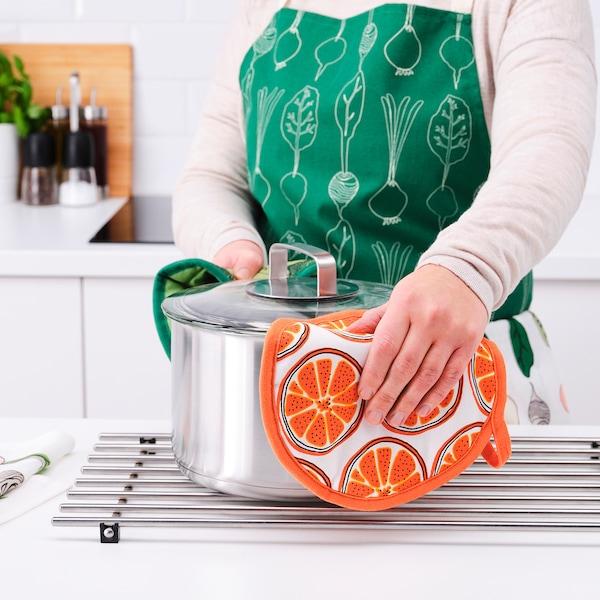 TORVFLY Pot holder, patterned/orange