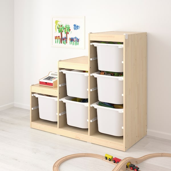 TROFAST Storage combination, light white stained pine/grey, 94x44x91 cm