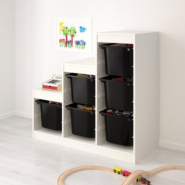 TROFAST Storage combination, white/black, 99x44x95 cm