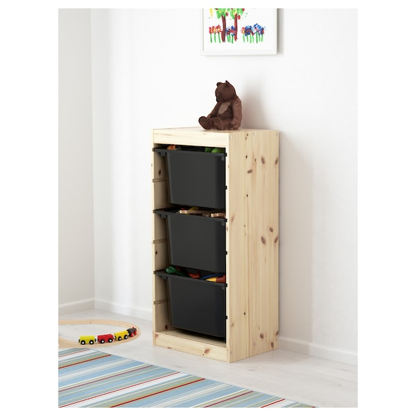 TROFAST Storage combination with boxes, light white stained pine/black, 44x30x91 cm
