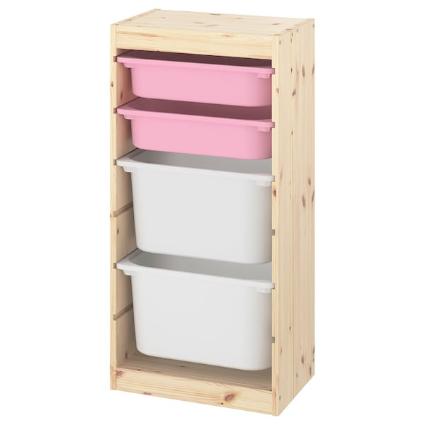 TROFAST Storage combination with boxes, light white stained pine pink/white, 44x30x91 cm