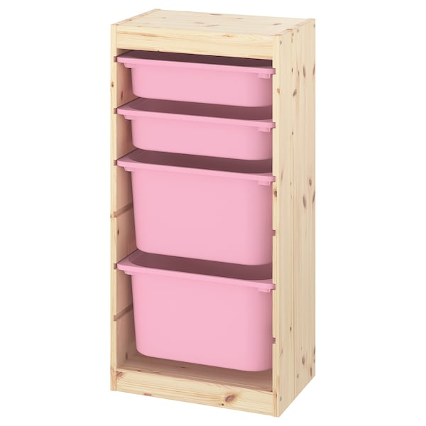 TROFAST Storage combination with boxes, light white stained pine/pink, 44x30x91 cm