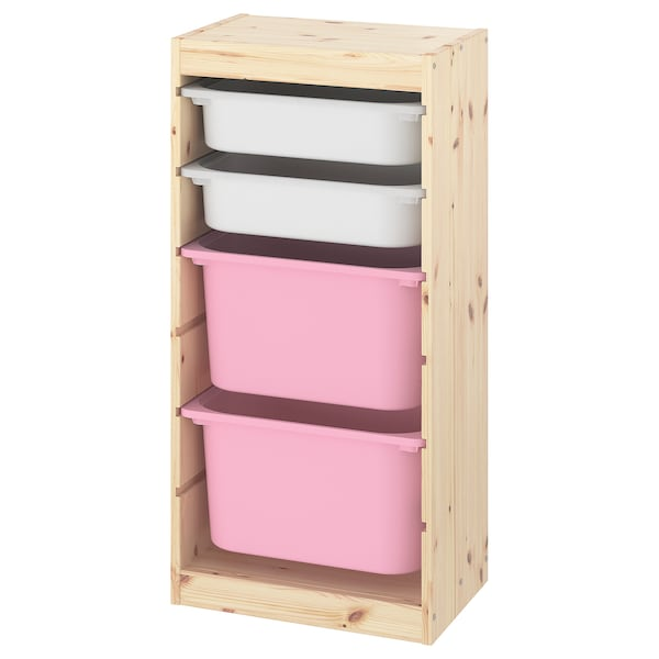 TROFAST Storage combination with boxes, light white stained pine white/pink, 44x30x91 cm