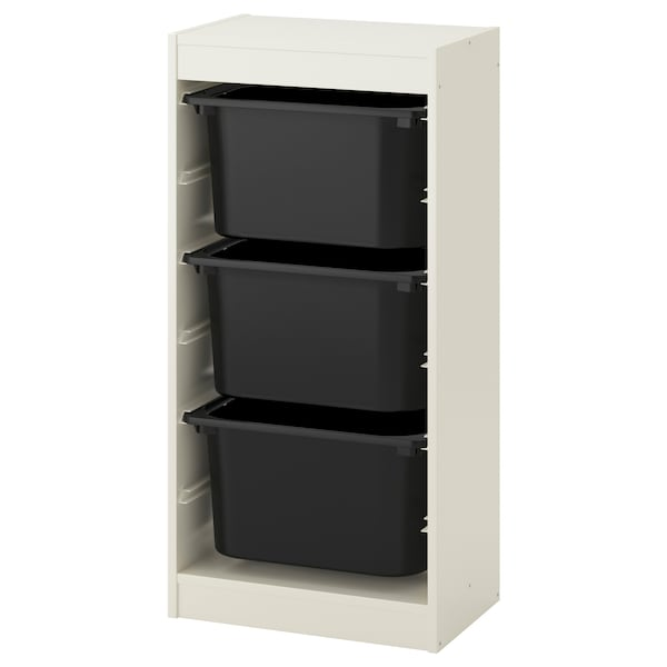 TROFAST Storage combination with boxes, white/black, 46x30x95 cm