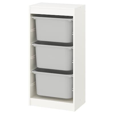 TROFAST Storage combination with boxes, white/grey, 46x30x95 cm