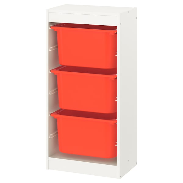 TROFAST Storage combination with boxes, white/orange, 46x30x95 cm