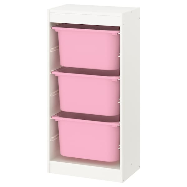 TROFAST Storage combination with boxes, white/pink, 46x30x95 cm