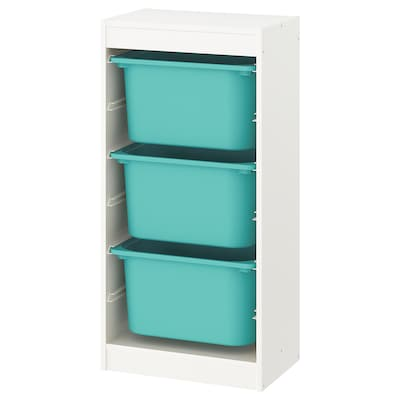 TROFAST Storage combination with boxes, white/turquoise, 46x30x95 cm