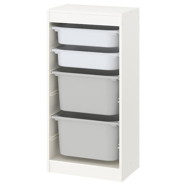 TROFAST Storage combination with boxes, white/white grey, 46x30x95 cm