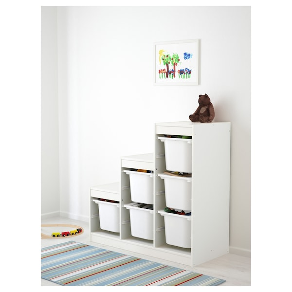 TROFAST Storage combination with boxes, white, 99x44x95 cm